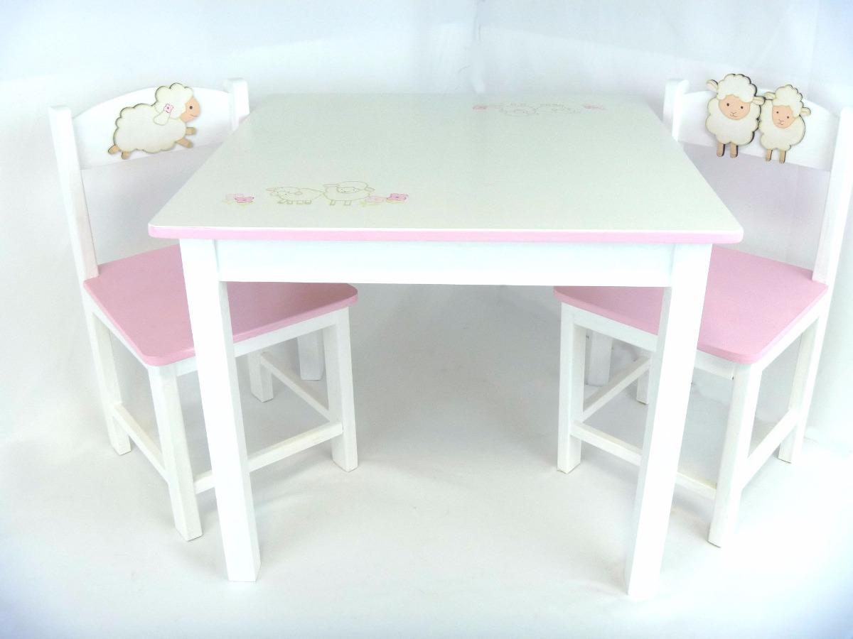Mesas y sillas para ni os de madera pintadas muebles 5 for Muebles de madera para ninos
