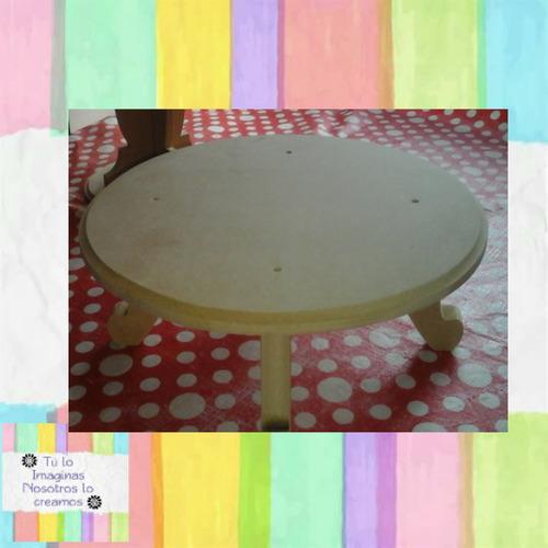 mesita 4 patas  en mdf en blanco 40 cm diametro * 10 altura