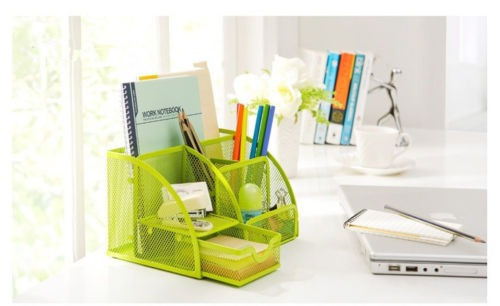 metal desk organizer office desktop holder pen pencil bandej