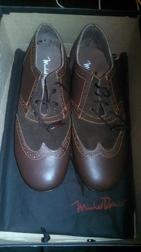 michel domit, zapatos nuevos, color café. número 6
