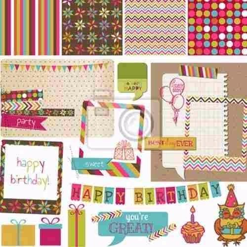 miles de scrapbook cumpleaños regalos pasteles globos