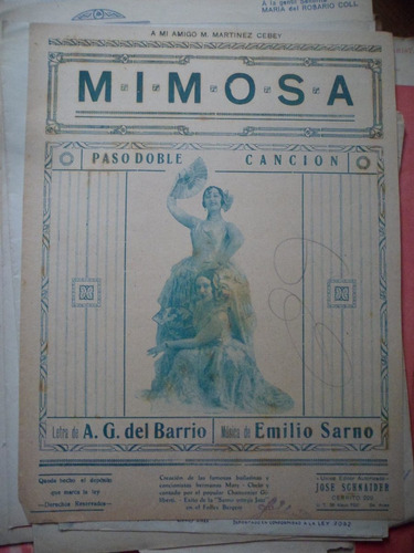mimosa  - a. del barrio / e. sarno pasodoble partitura
