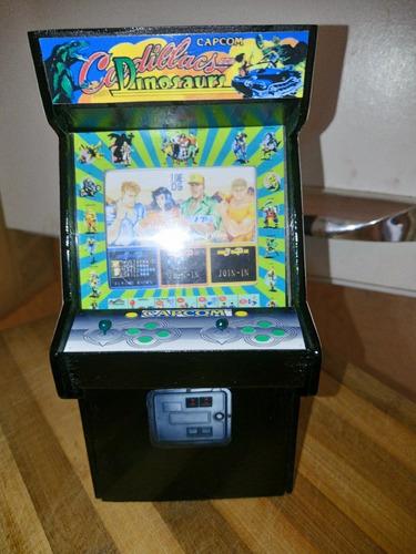 mini arcade de adorno, réplica cadillacs and dinosaurs