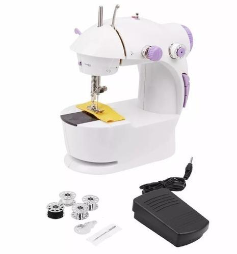 mini máquina costura portátil pilhas bivolt luz pedal bobina