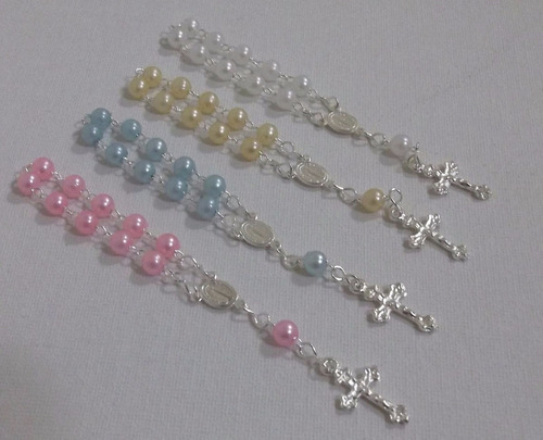 mini rosarios, drenarios para souvenirs bautizmo