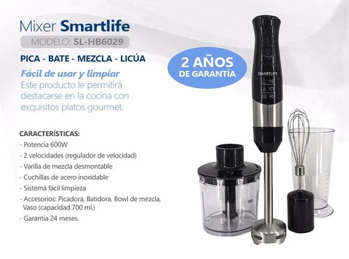 mixer smartlife batidora licuadora picadora mezcladora pcm
