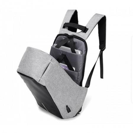 mochila anti robo puerto usb cel purpura y negro oferta
