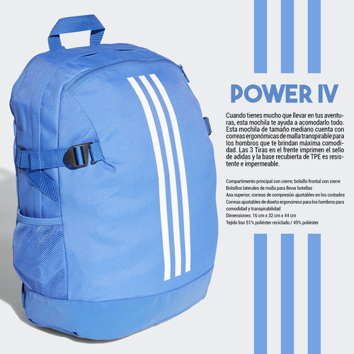 mochila bolso adidas power iv mediana unisex casual