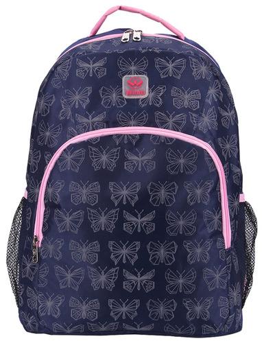 mochila feminina barata borboletas adulto rosa azul cinza g