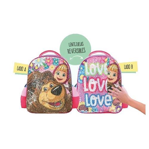 mochila footy - masha y el oso 12'' lentejuela - vamosajugar