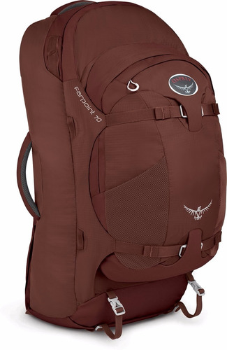mochila mochilero viajes camping osprey farpoint 70 roja