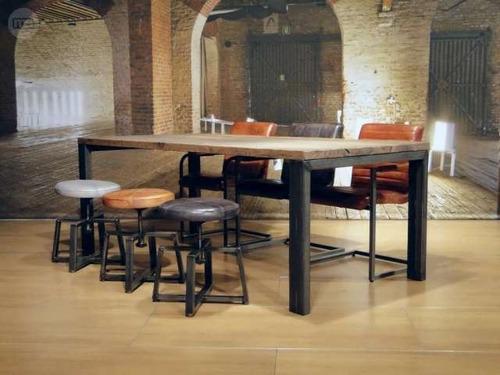 modernas mesas de comedor en hierro y madera tipo industrial