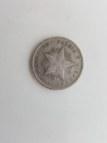 moneda de plata - 20 centavos - cuba - 1920 ley. 0.900 5gms
