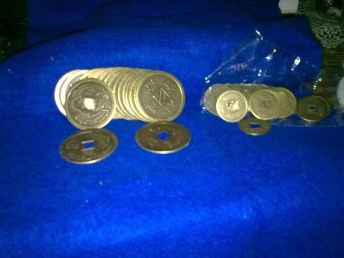 monedas chinas  feng shui x9 unidades de 2,4cm aprox