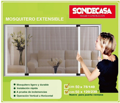 mosquitero extensible 50x120 ajustable hasta 2,30m sondecasa