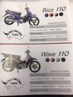 moto marca toro desde 110 cc/// 100% fin. cuotas de $ 1200