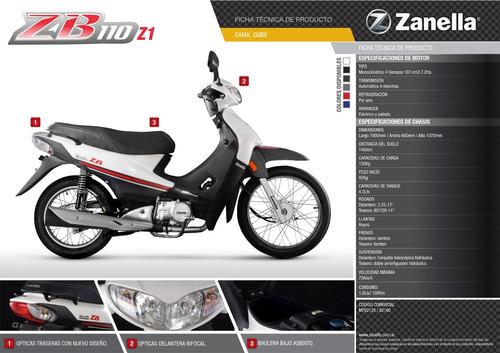 moto zb 110cc con arranque electrico blanco zanella 0km 2018