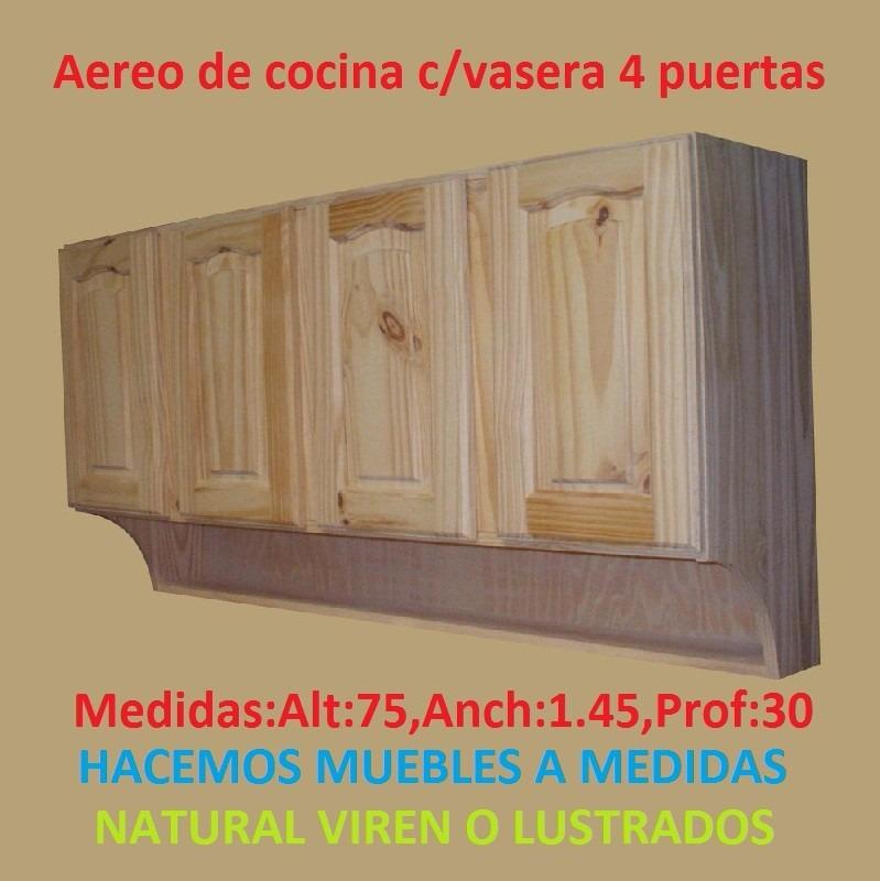 Mueble aereo de cocina c vasera 3 puertas de madera maciza for Muebles aereos para cocina en uruguay
