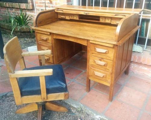 mueble antiguo escritorio de roble macizo cortina y secreter