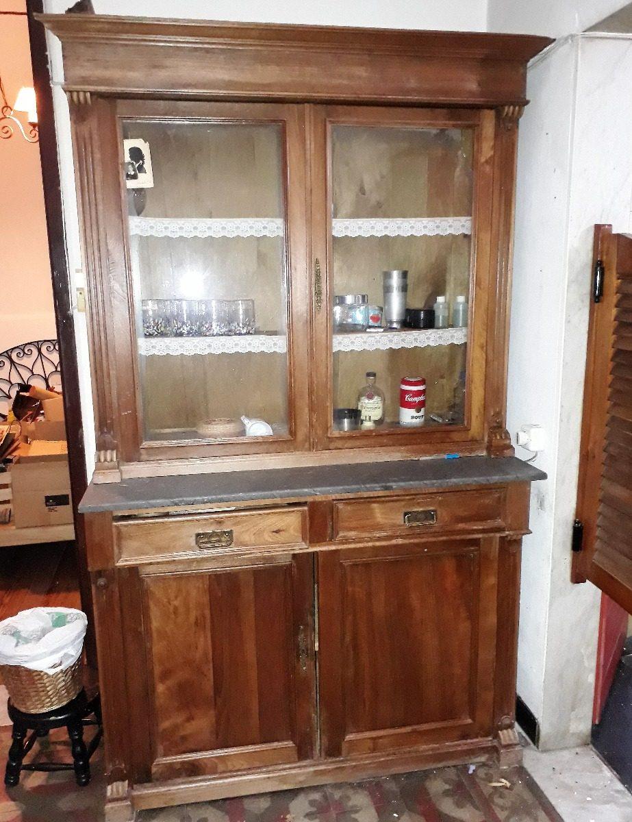 Mueble Aparador Antiguo Cocina Marmol Y Vidrio
