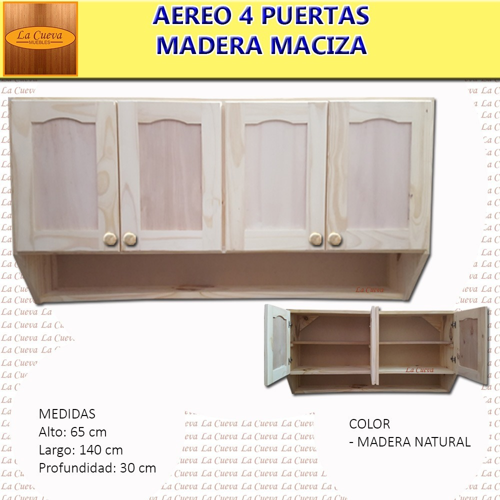 Mueble de cocina aereo 4 puertas alacena madera lcm for Mueble aereo cocina uruguay