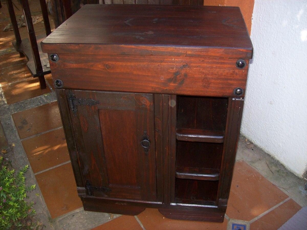 Mueble De Bano 100 Madera Maciza Puerta Y Estantes