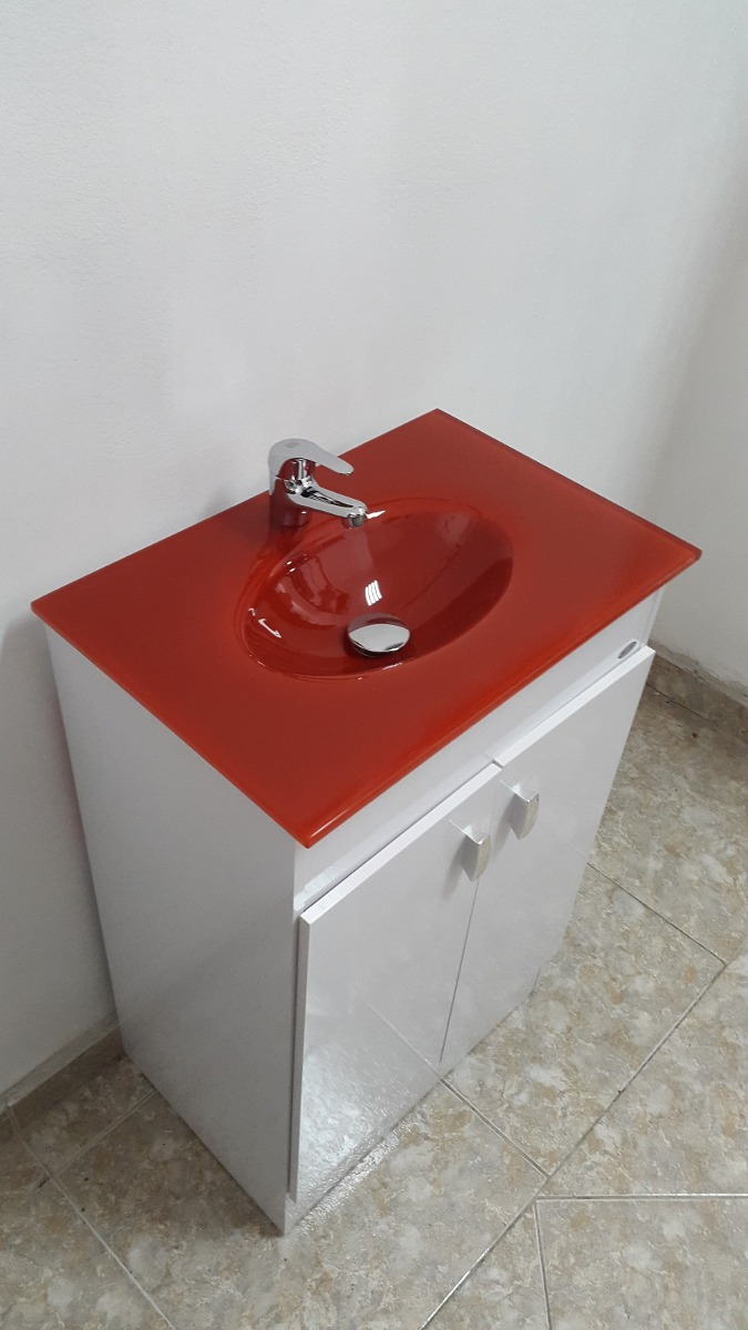 Mueble de ba o bacha roja 50x35 cm en for Mueble bano 50 cm ancho