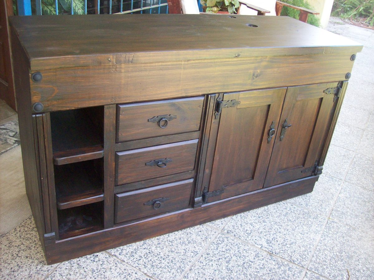 Mueble de ba o madera maciza en mercado libre for Muebles de bano de madera rusticos