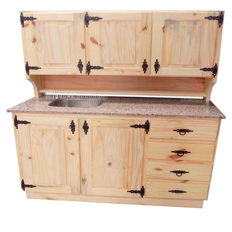 Mueble De Cocina De Madera De Pino Con Herrajes - $ 13.190,00 en ...