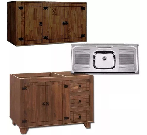 mueble de cocina madera - aereo - bajo mesada - pileta - lcm