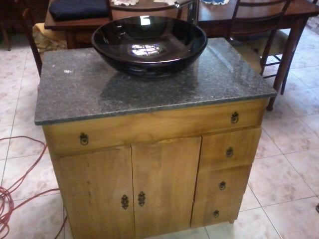 Mueble de madera maciza para bachas de ba o for Muebles madera maciza uruguay