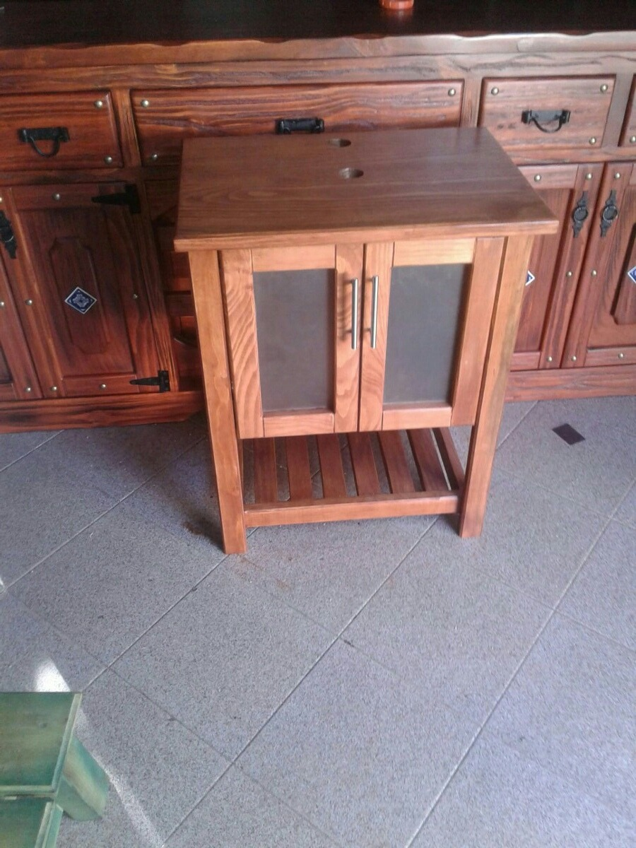 Mueble en madera maciza r stica para bacha de ba o 9 for Muebles madera maciza uruguay