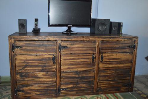 mueble modular rack rustico madera maciza