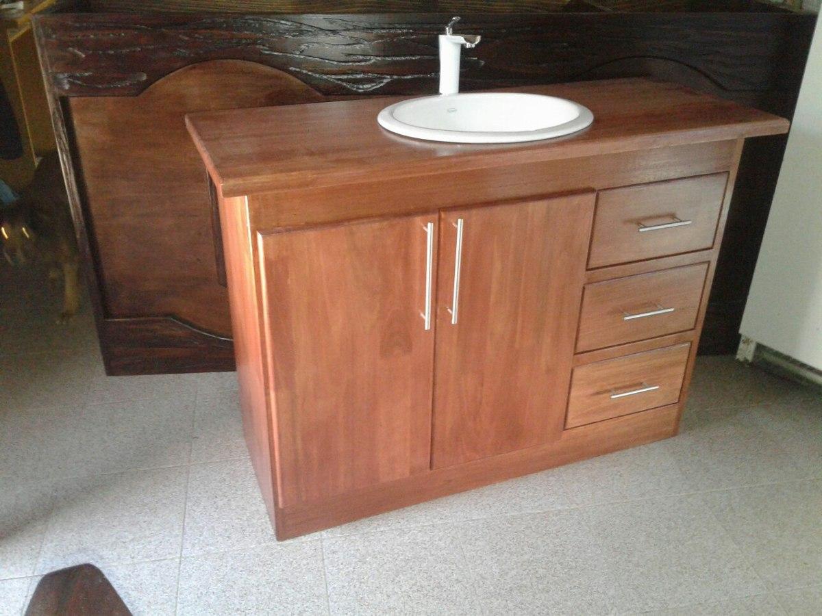 Mueble para bacha de ba o en madera r stico - Muebles de bano de madera ...
