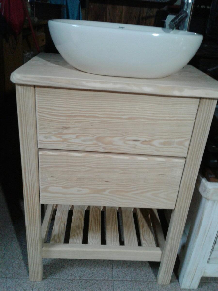 Mueble rustico en madera maciza para bacha de ba o 8 for Muebles rusticos de madera para banos