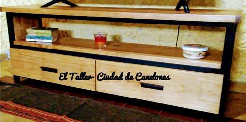 mueble tv consola rack  hierro y madera industrial