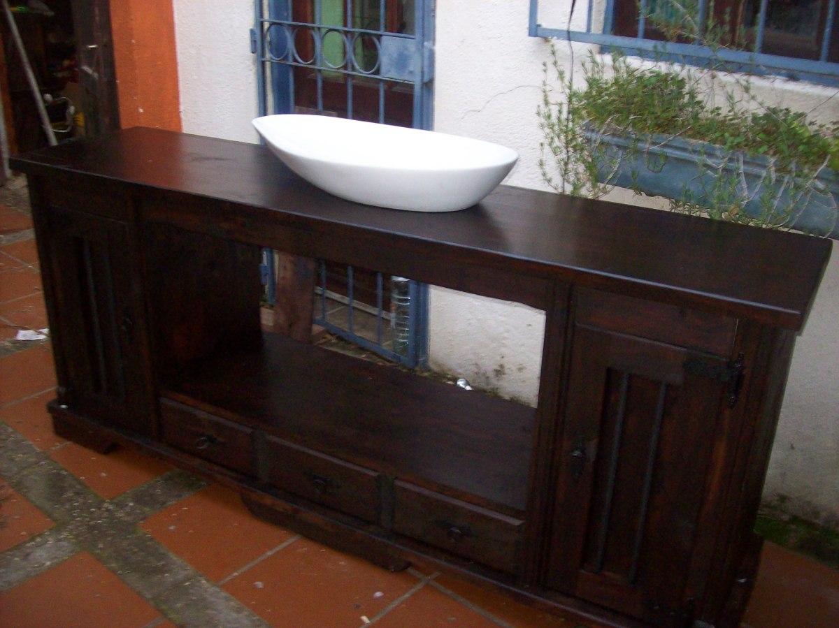 Mueble bajo mesada de ba o rustico madera maciza sin bacha for Muebles rusticos de madera para banos
