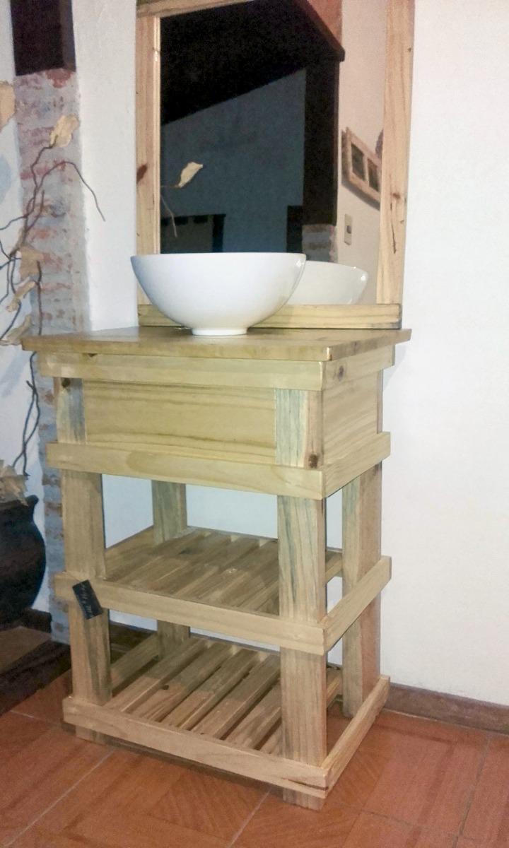 Muebles ba o r stico madera espejo opcional decoformas - Muebles altos de bano ...