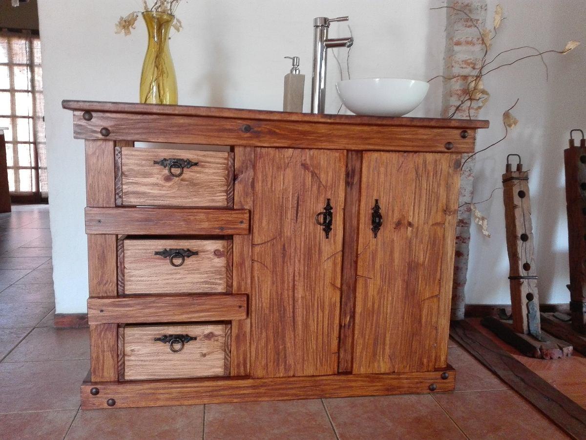 Muebles de ba o r stico madera herrajes de hierro for Muebles de bano de madera rusticos