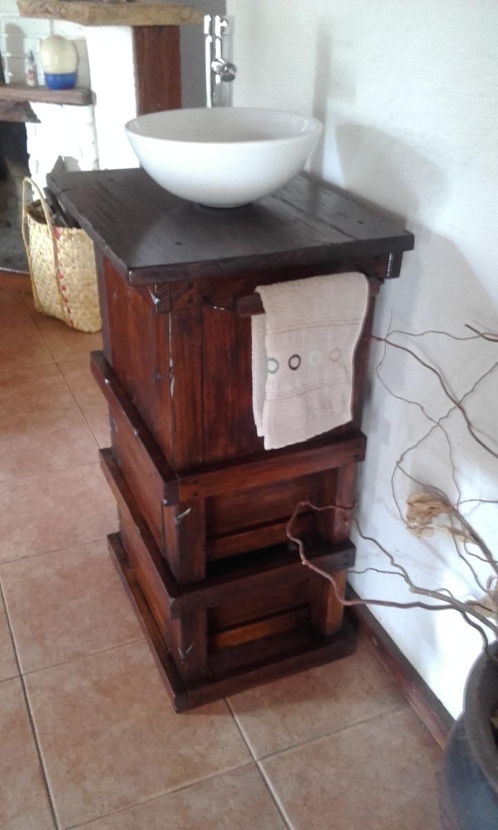 Muebles para ba o r stico madera con toallero decoformas for Quien compra muebles usados