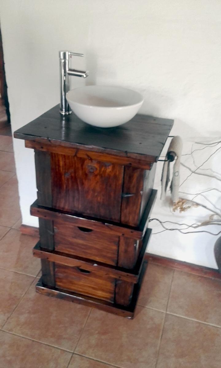 Muebles para ba o r stico madera con toallero decoformas - Muebles rusticos bano ...