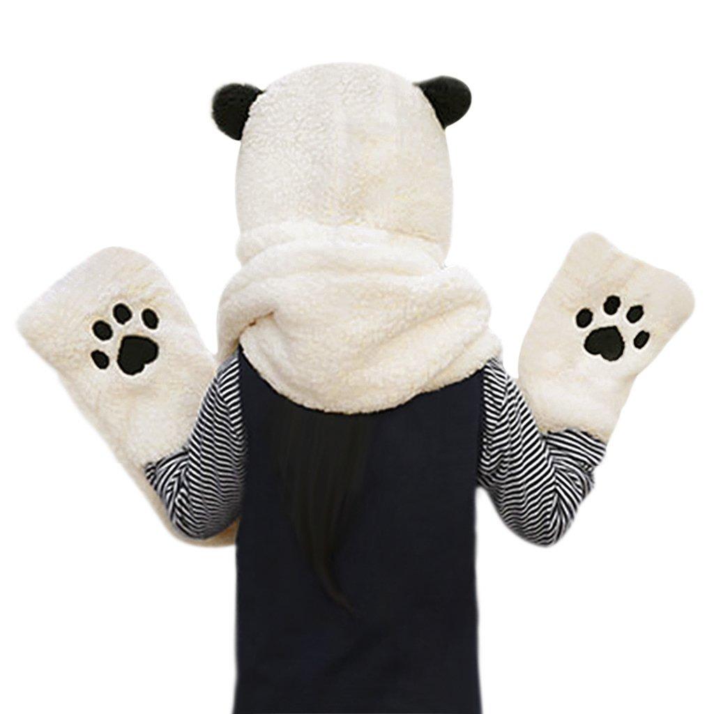 676857299 Mujeres Niñas Lindo Panda Animal Winter Hats 3 En 1 Cálid