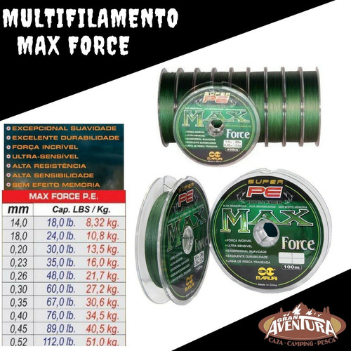 multifilamento max force 0.45 mm 100 mts