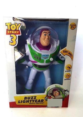 muñeco toy story. buzz light year. 25cm luz y sonido. nuevo