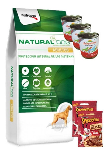 natural dog adulto 22kg + 3 pate + 2 smoochies