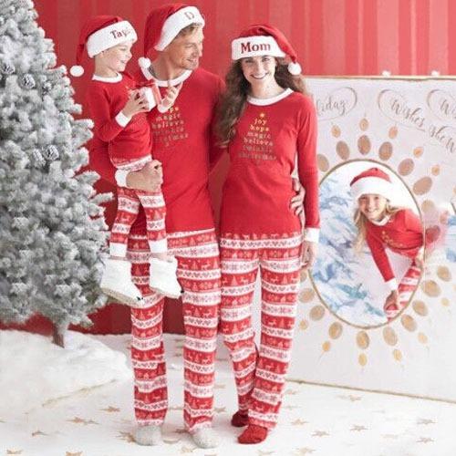 Navidad Familia Juego Carta Impresion Algodon Pijama Padre 3 406
