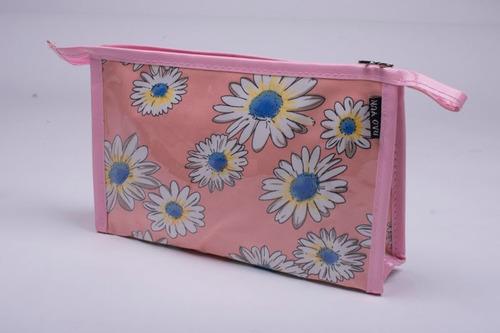 neceser porta cosmético cartuchera estuche monedero flores a