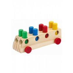 ônibus com pinos em madeira nina brinquedos educativos