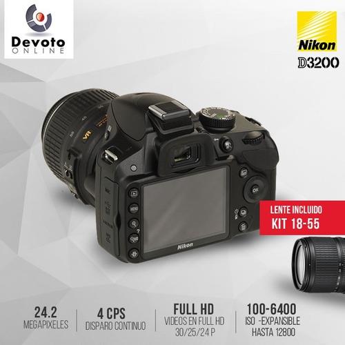 nikon d3200 / d3400 kit 18-55 full hd 24mp en stock!!!!!