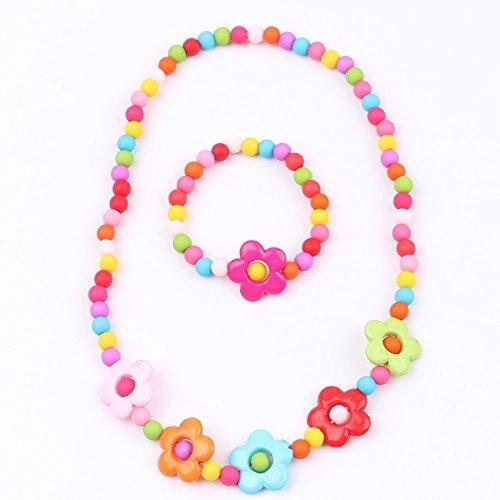 nueva estilos ee991 5d7b1 Niños Joyería Moda De Flores De Colores Para Niñas Collar